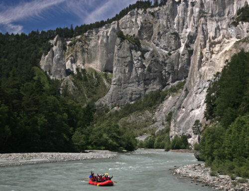 Rafting Ausflug am Vorderrhein zwischen Ilanz und Reichenau – September 2018